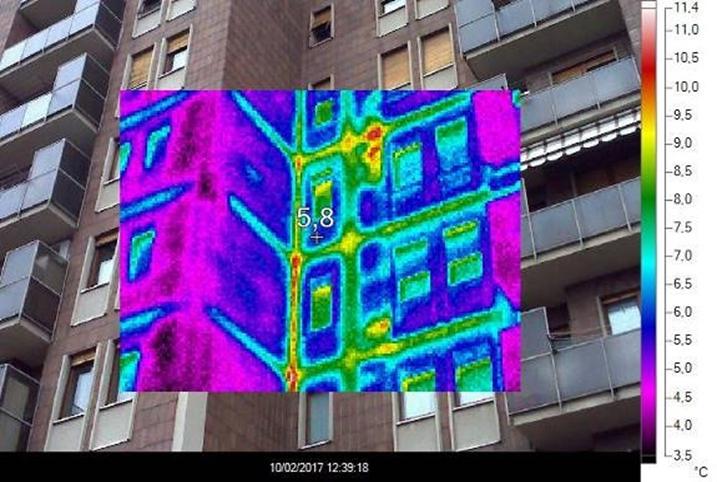 Indagine termografica sull'involucro edilizio del condominio